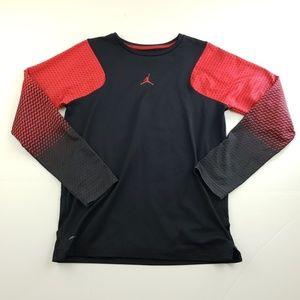 Jordan red and black logo long sleeve boys shirt L